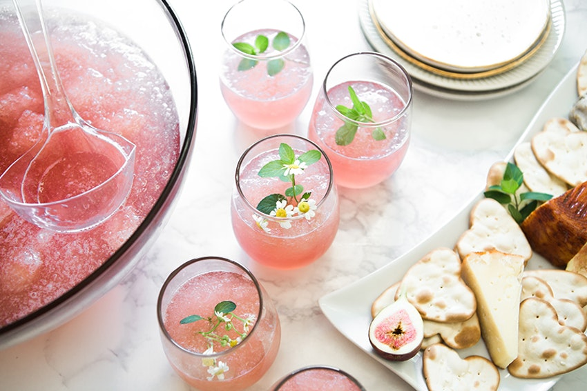 Pink Ginger Lemonade & Champagne Slush Punch