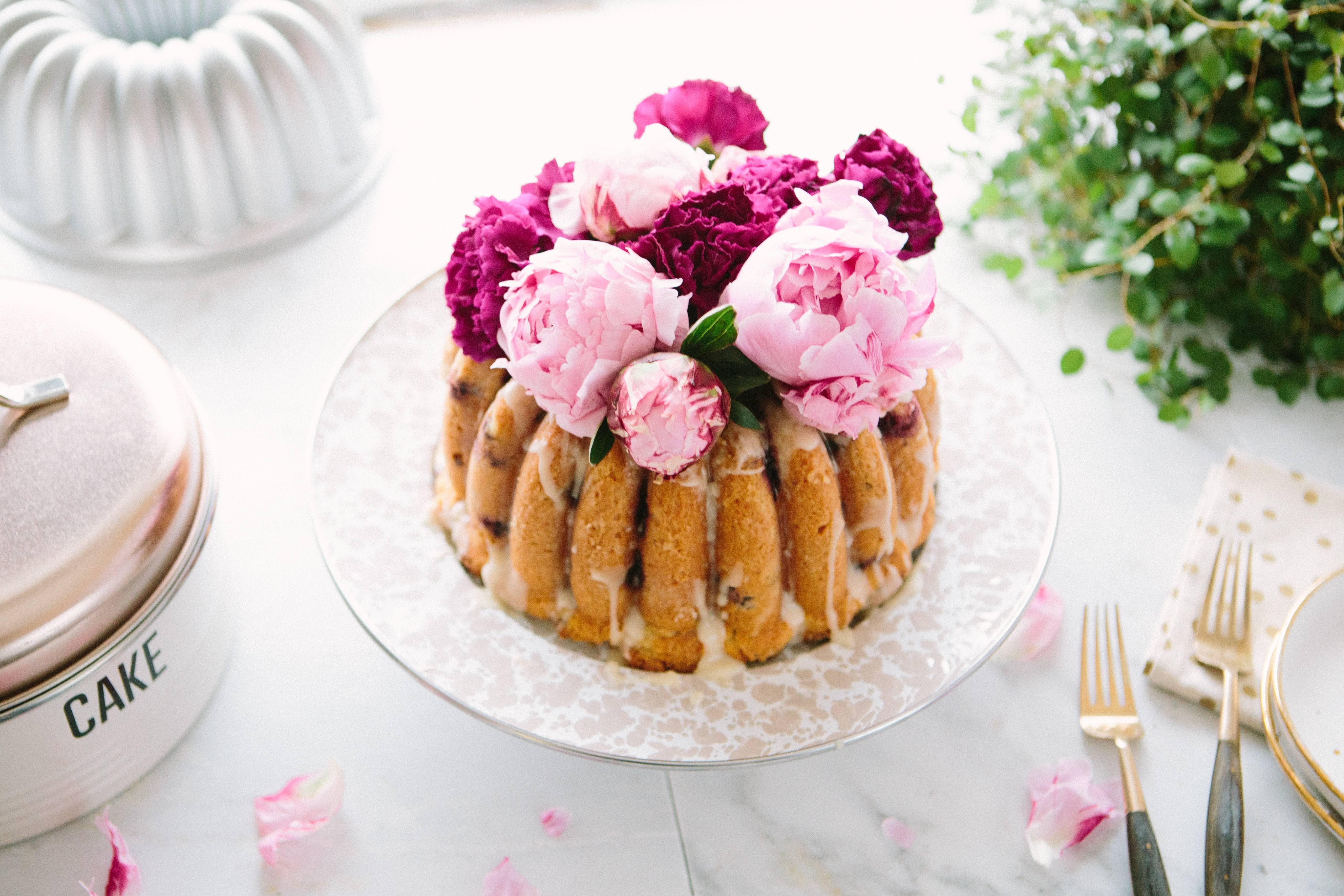Blackberry Champagne Bundt Cake with Amaretto Glaze
