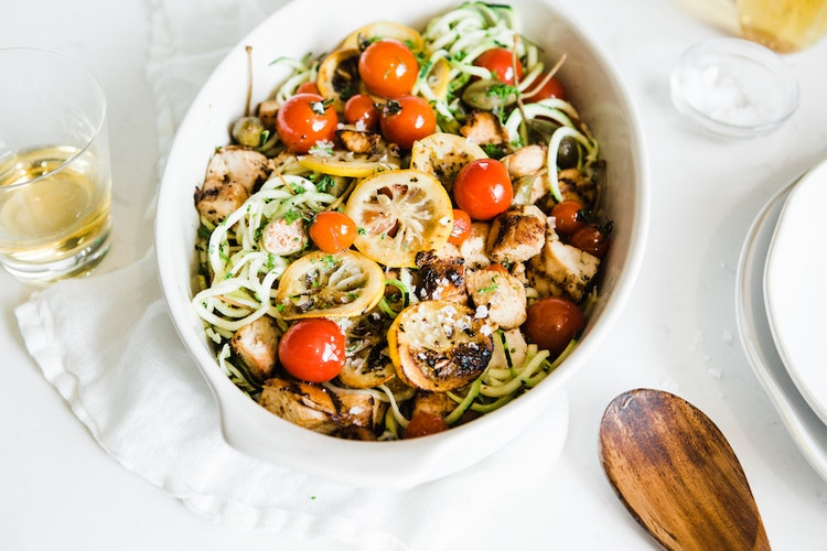 Summer Slow Cooker Chicken Piccata and Zoodles