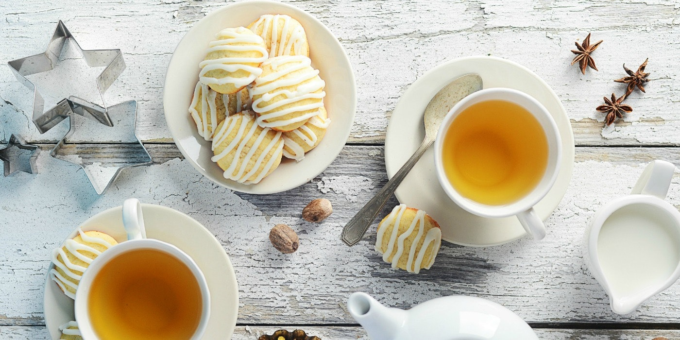 Tiny Tea Cookies with Butter Rum Icing