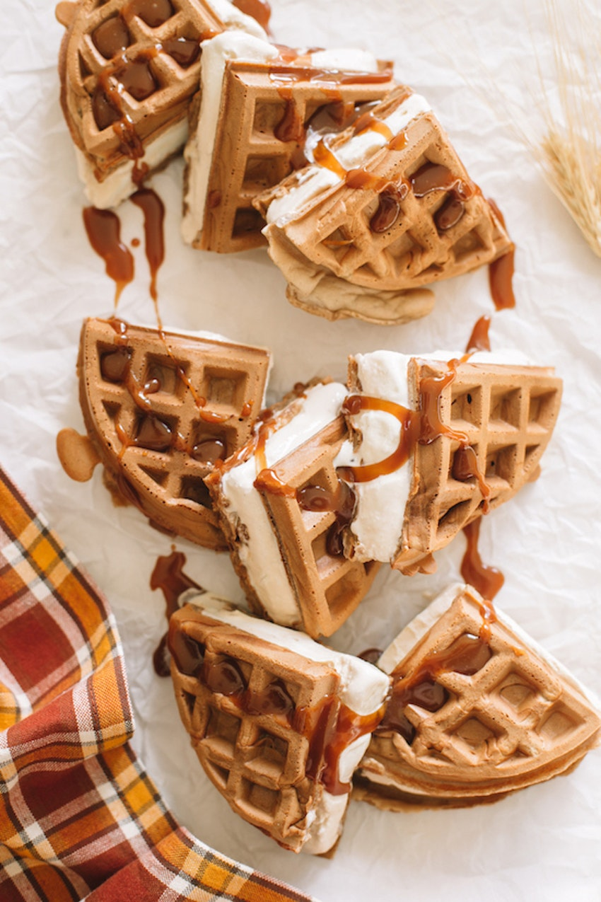 These Spiced Cider Waffle Ice Cream Sandwiches Are Such an Easy, Fall Dessert