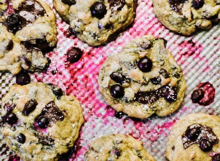 Blueberry Almond Chocolate Chip Cookies