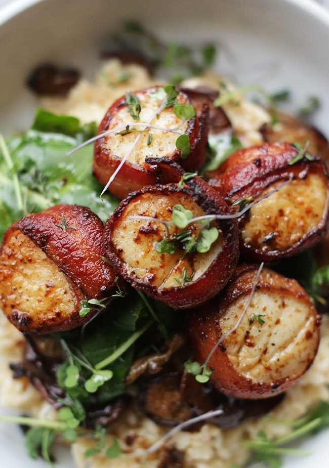 Bacon Wrapped Scallops And Risotto 10