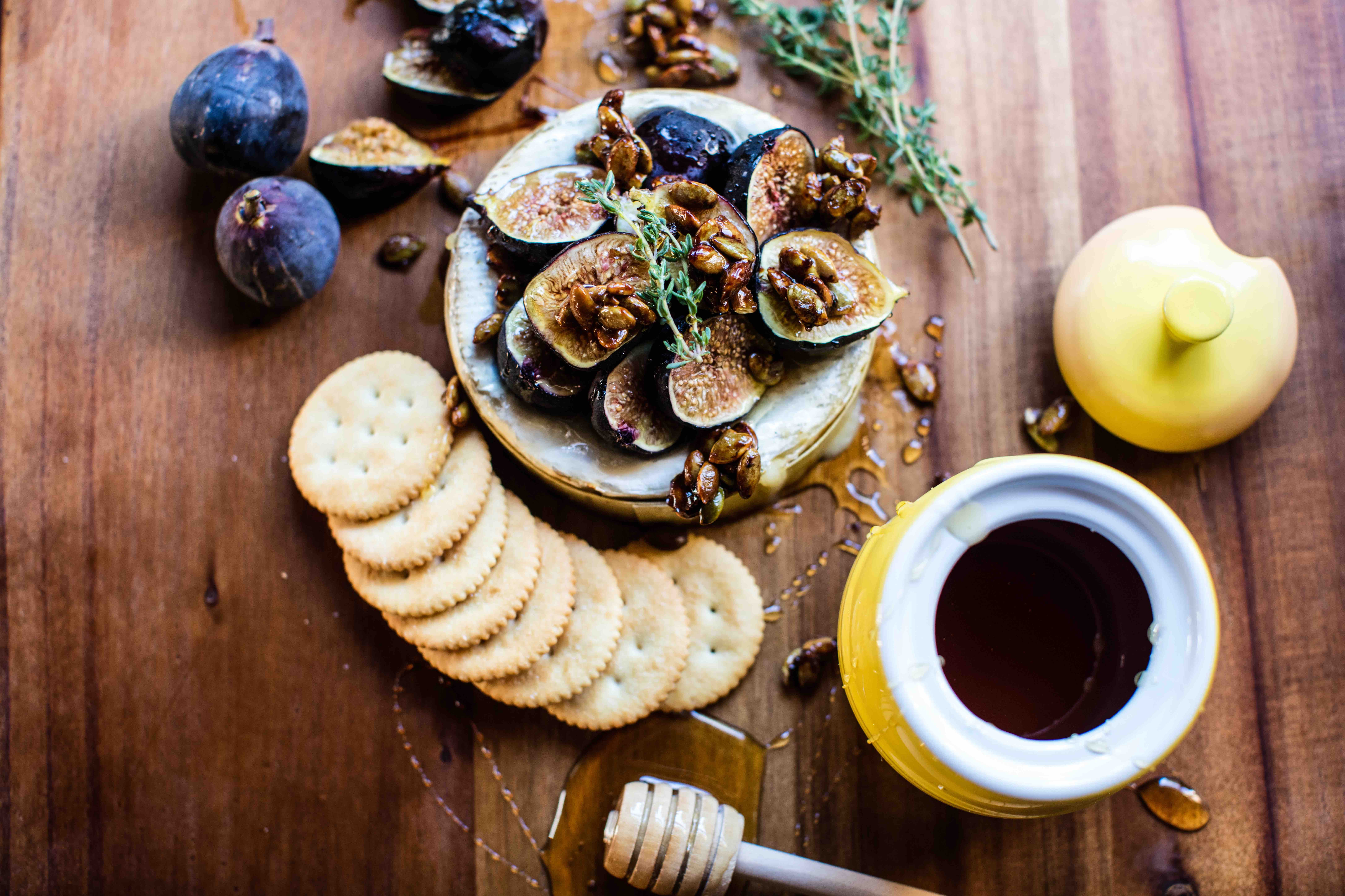 Fig Baked Brie with Butter Toasted Pumpkin Seeds Recipe