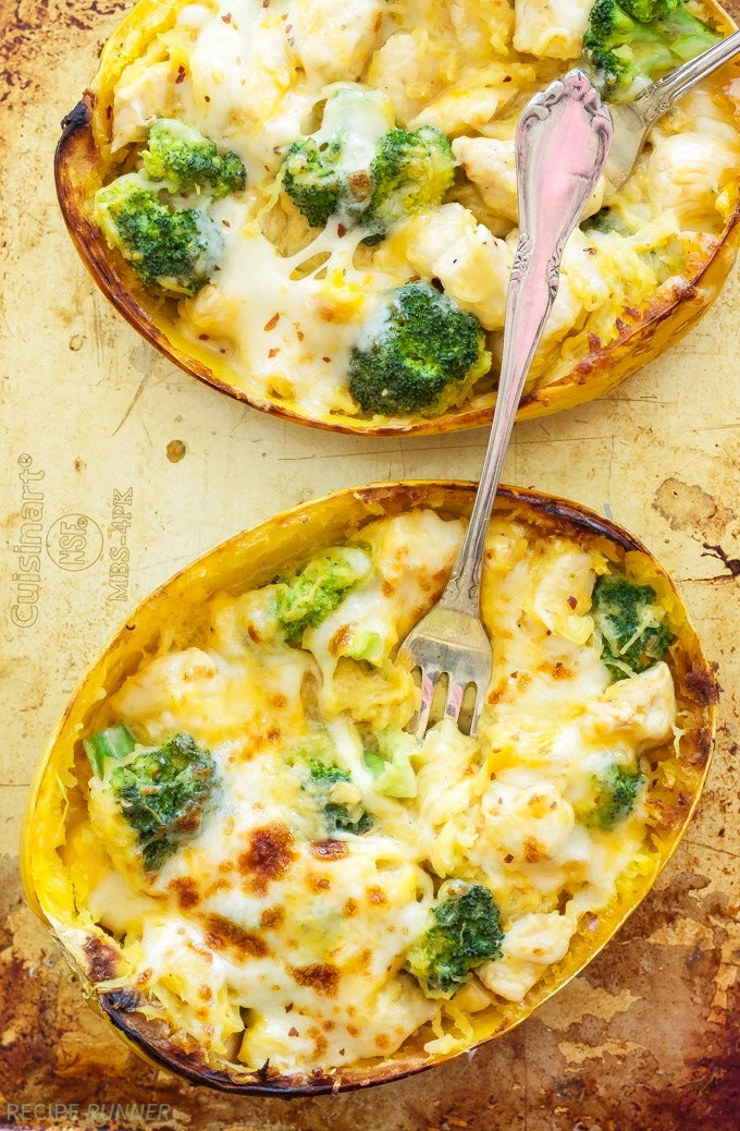 Cheesy Chicken And Broccoli Stuffed Spaghetti Squash1