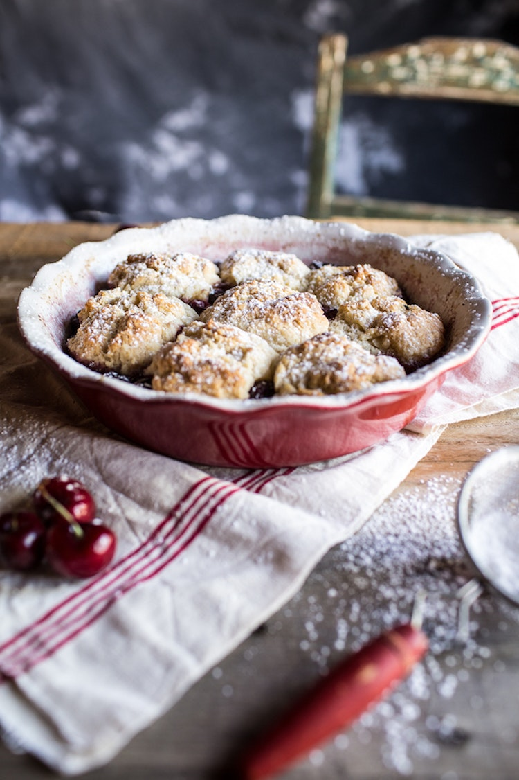 Cherry Cobbler Topped with Honey Butter Vanilla Bean Biscuits