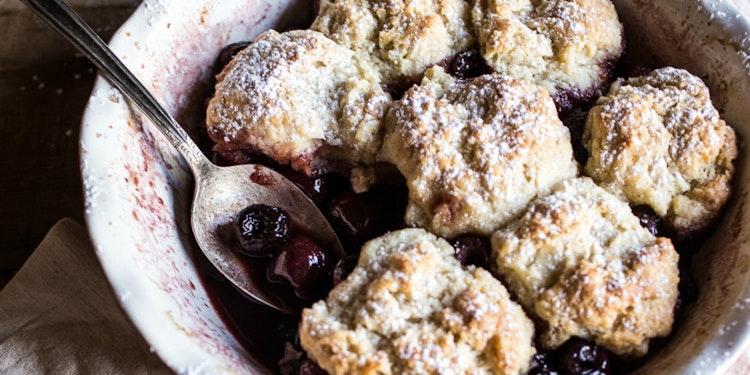 Cherry Cobbler + Honey Butter Vanilla Bean Biscuits