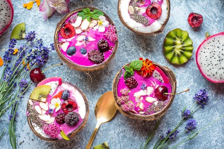 Cherry Pitaya Lavender Smoothie Bowls
