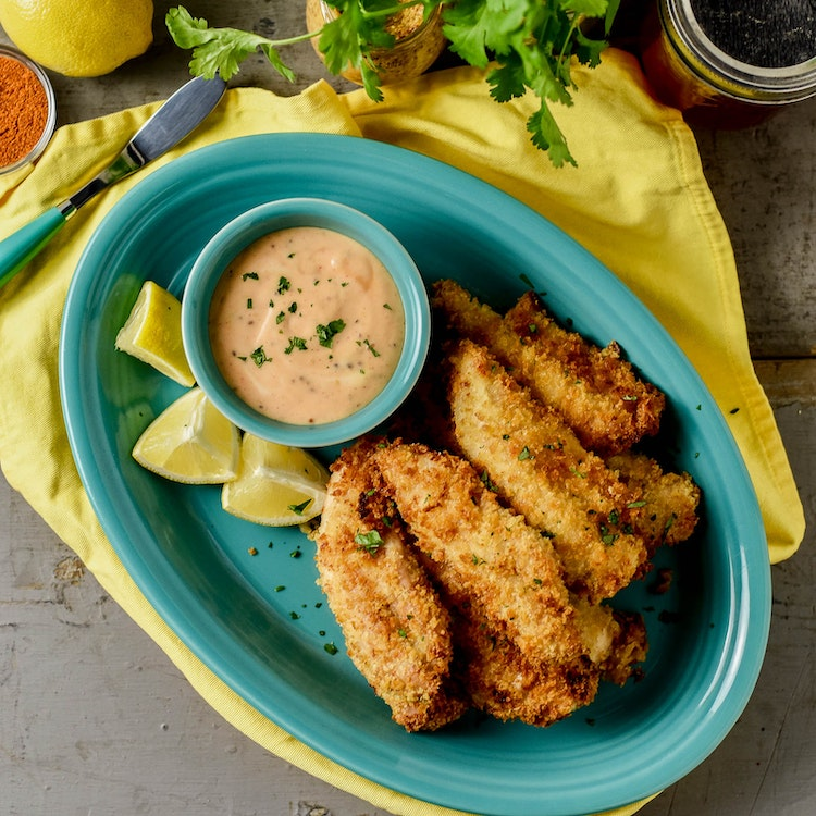 Air-Fried Spicy Chicken Fingers with Sriracha Honey Mustard
