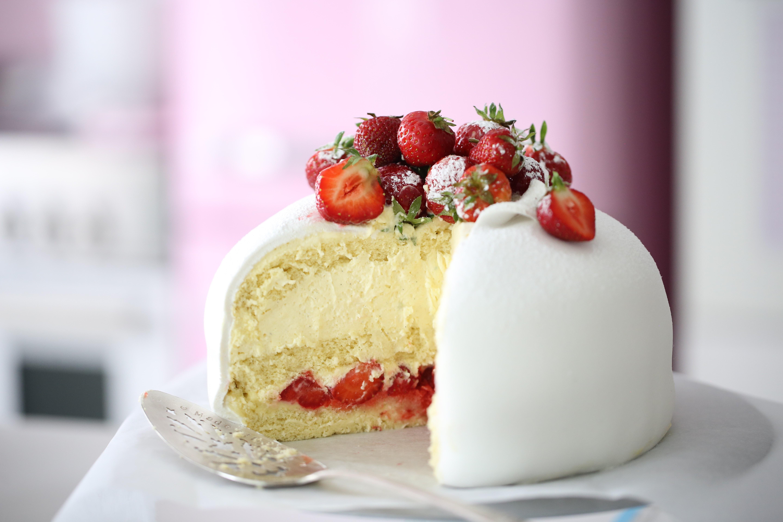 A White Strawberry Swedish Princess Cake