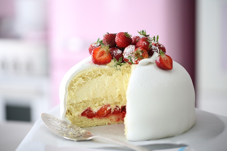 A White Strawberry Swedish Princess Cake