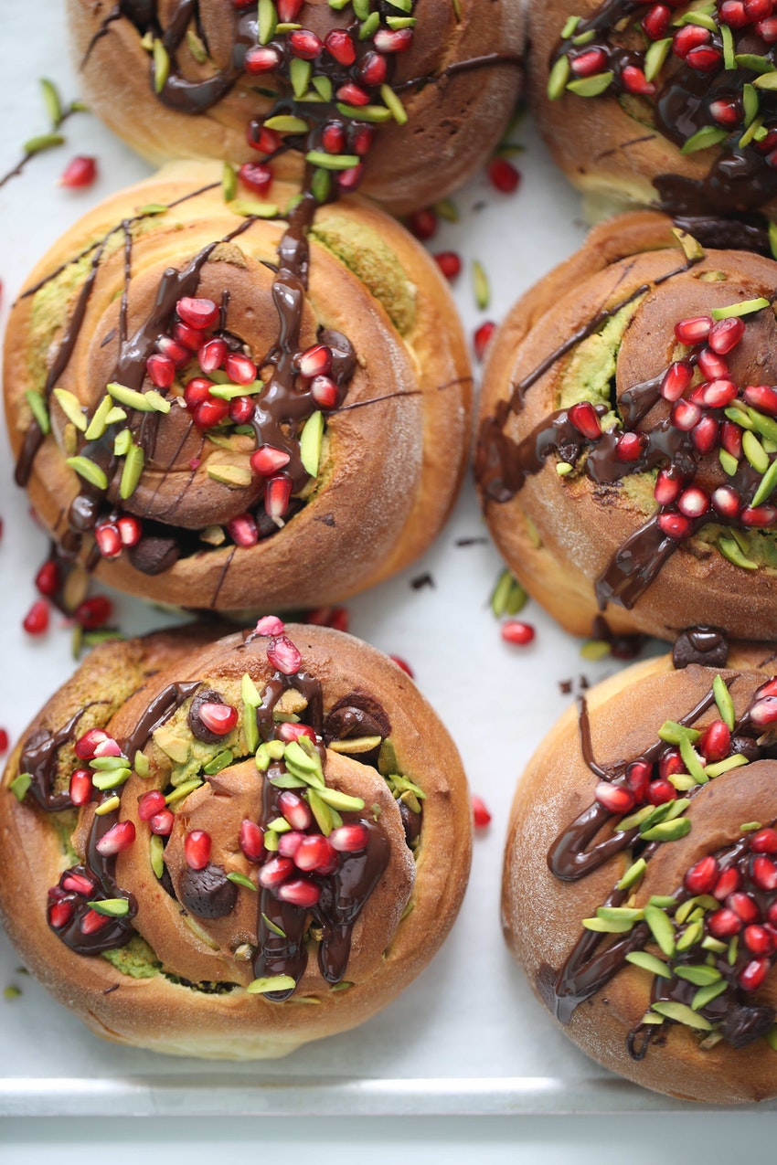 Pistachio Rolls with Chocolate & Pomegranate