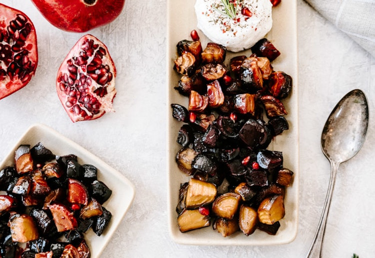 Easy Maple & Pomegranate Glazed Roasted Beets with Goat Cheese