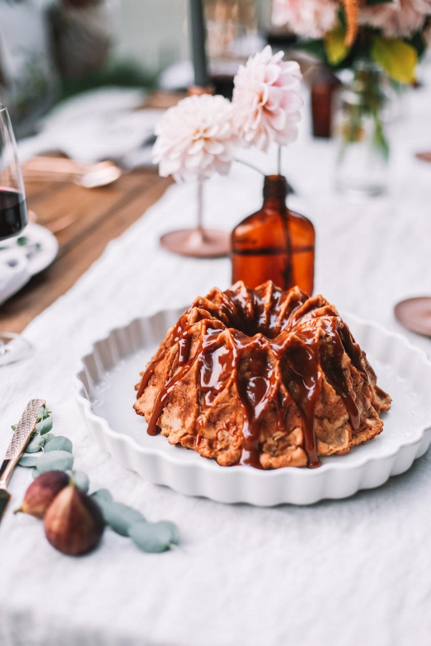 Apple Chai Bread Pudding Bundt Cake with Vanilla Bean Caramel