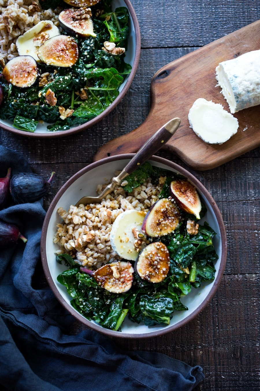 Farro Bowl With Figs Walnuts And Kale 114