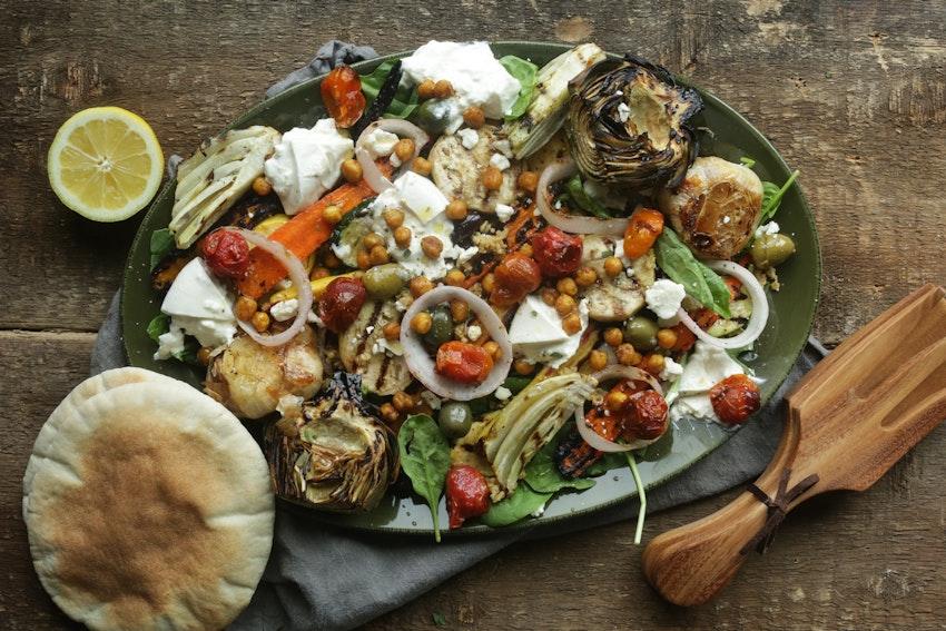 Mediterranean Freekeh Salad with Roasted Vegetables & Turmeric Chickpeas