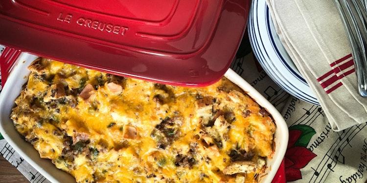 Laid Back Brunching: Mushroom, Sausage + Cheddar Breakfast Strata