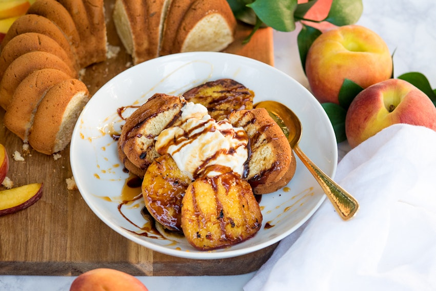 Grilled Mascarpone Pound Cake with Grilled Peaches, Vanilla Bean Whipped Cream and Caramel Sauce