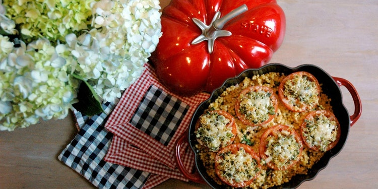Tomatoes Provençale & Israeli Couscous Salad