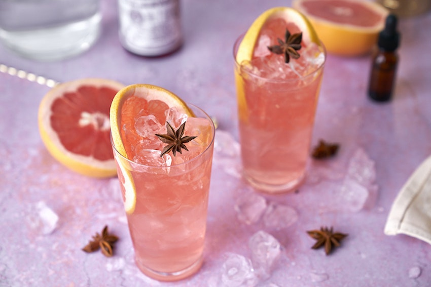 CBD-Infused Spiced Grapefruit Collins Cocktail