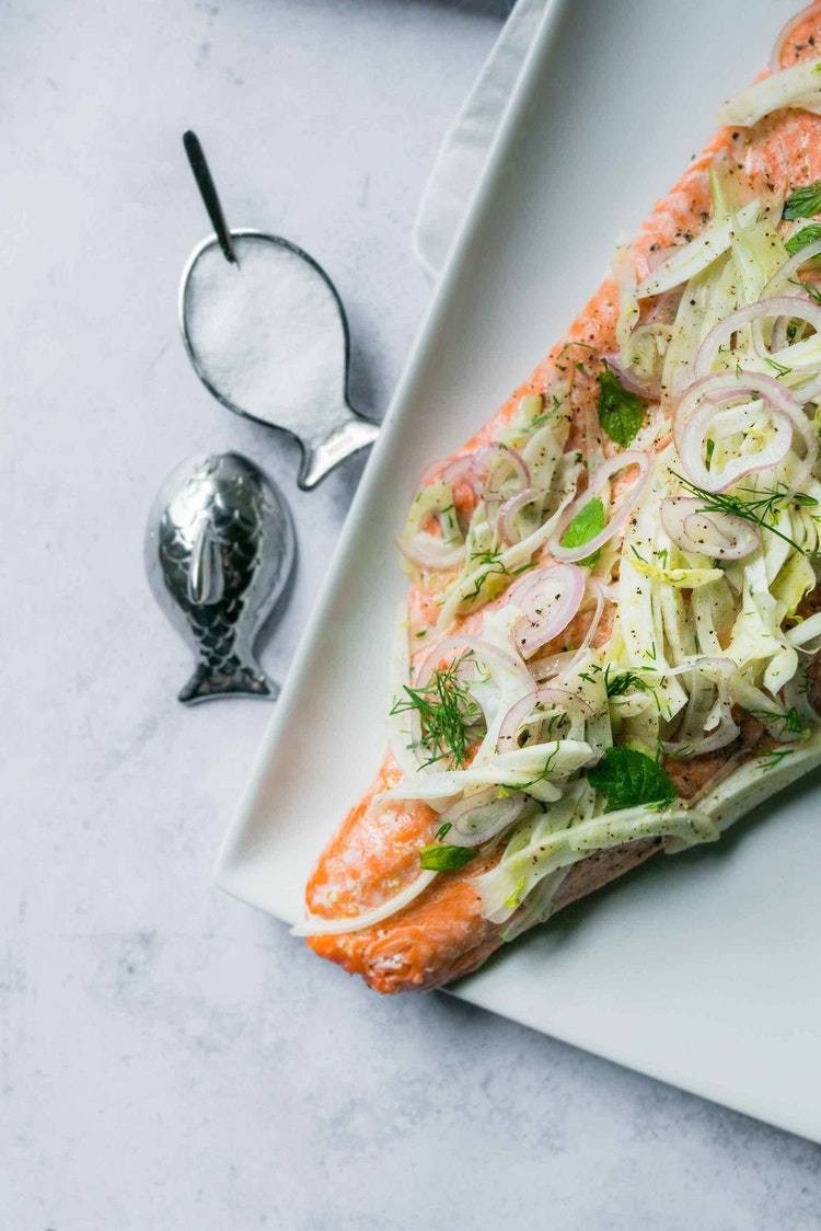 Shaved Fennel Salad Over Salmon