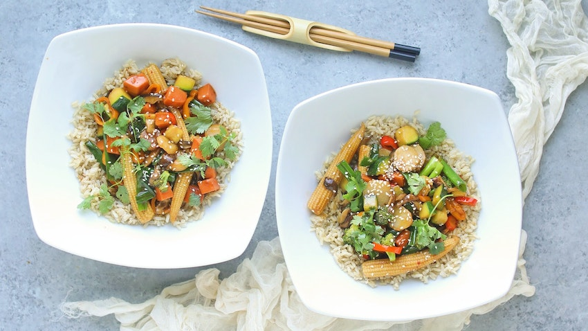 Easy Veggie Stir-Fry Recipe with Brown Jasmine Rice