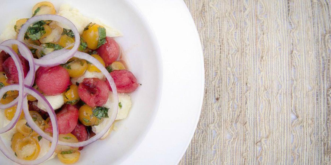 Late Summer Watermelon Tomato Mozzarella Salad from Chef Ben Vaughn