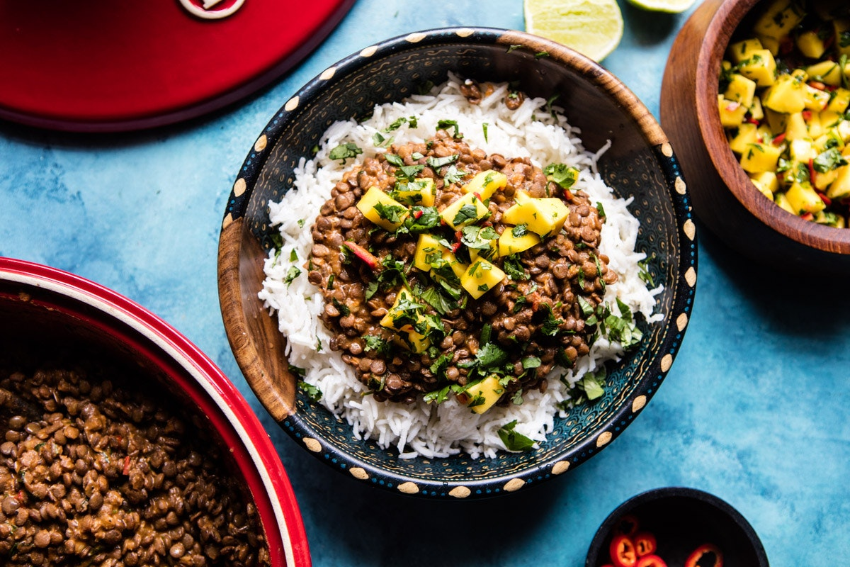 Indian Lentils with Mango Salsa