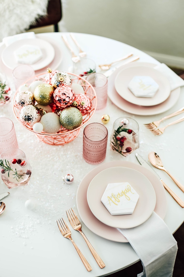 A Festive Millennial Pink Table Setting for the Holiday Season | The ...