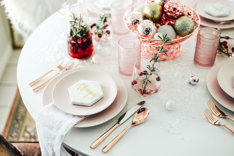 A Festive Millennial Pink Table Setting For The Holiday Season