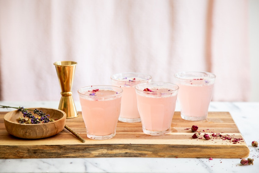 "Rhubarb Rose Lemon Fizz ""Mocktail"""
