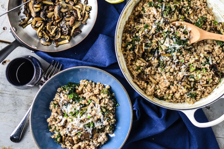 Baked Farro Risotto with Mushrooms and Kale