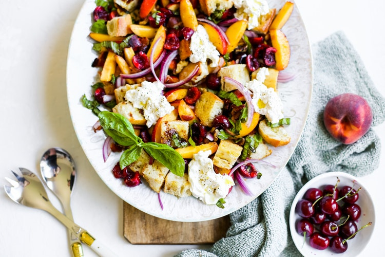 Summer Peach Panzanella Salad