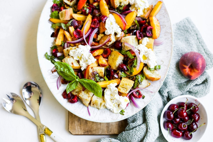 Summer Peach Panzanella Salad