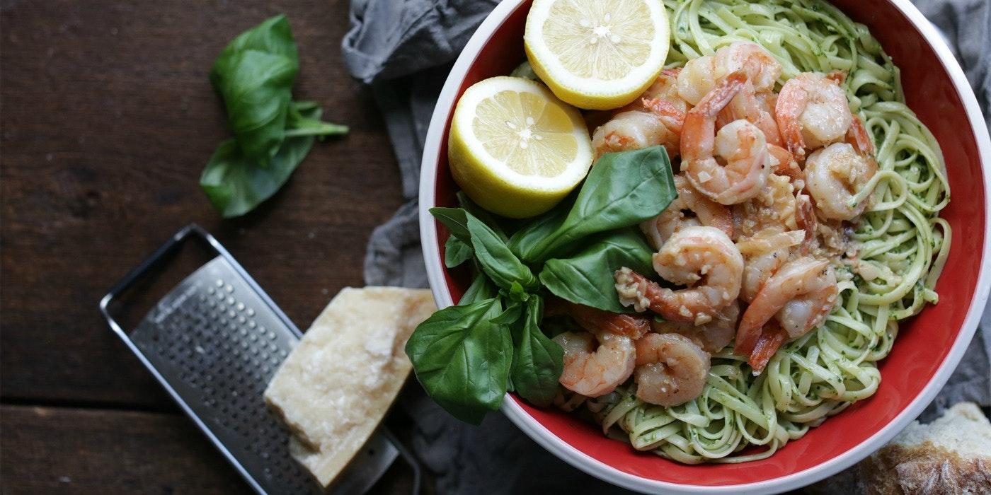 Pesto Linguine with Shrimp Scampi