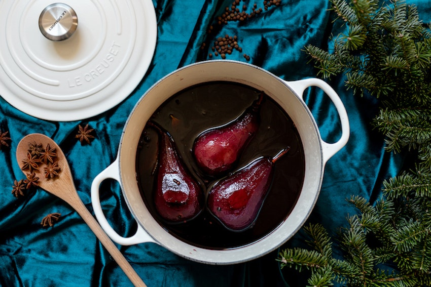 Boozy & Festive Wine Poached Pears