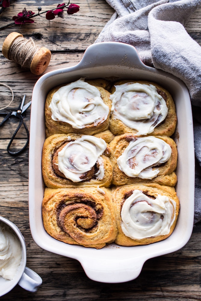 Pumpkin Cinnamon Rolls With Vanilla Spice Cream Cheese Frosting 5 Resize