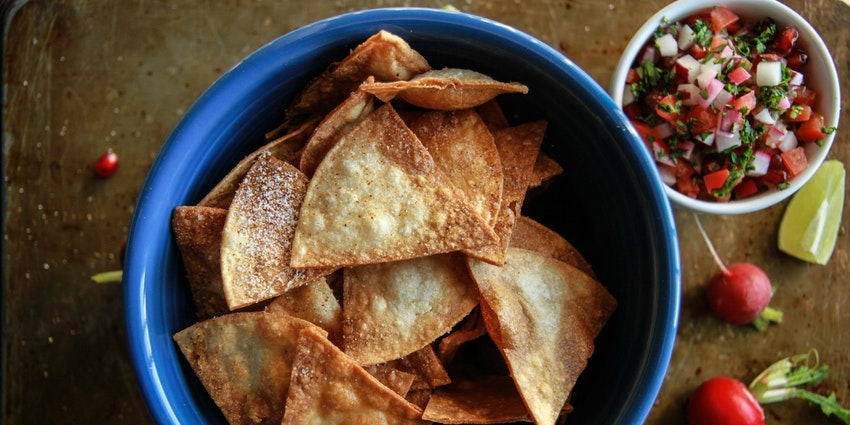 Radish-Pomegranate Pico de Gallo + Homemade Spiced Tortilla Chips