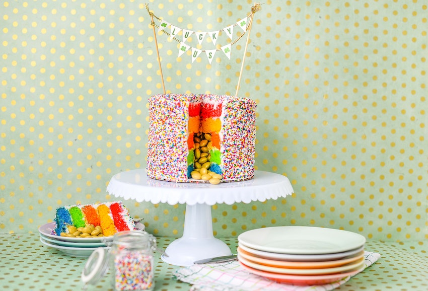 Sham-ROCK Your St. Patty's Day with a Pot of Gold Rainbow Surprise Cake