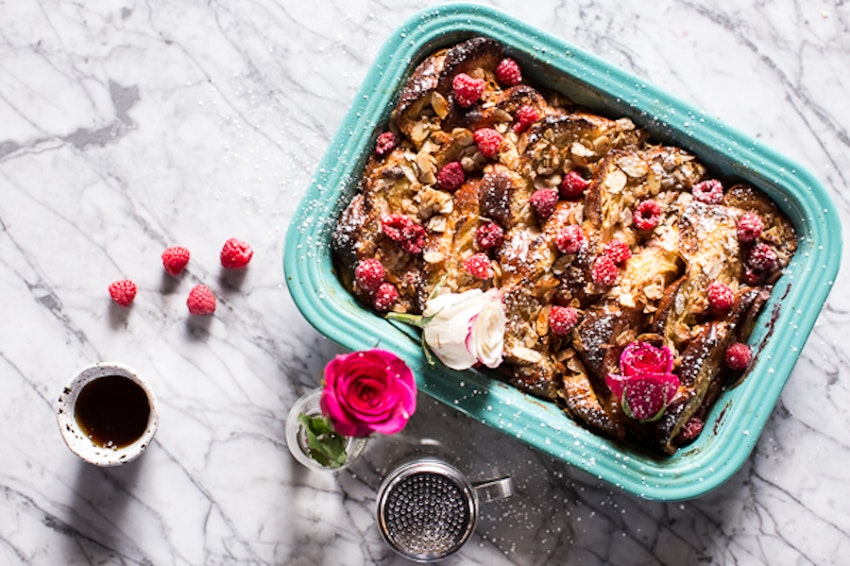 Raspberry Rose Baked French Toast