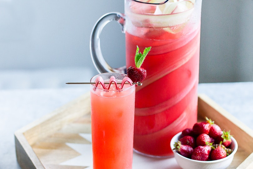 Strawberry Rhubarb Pitcher Cocktails