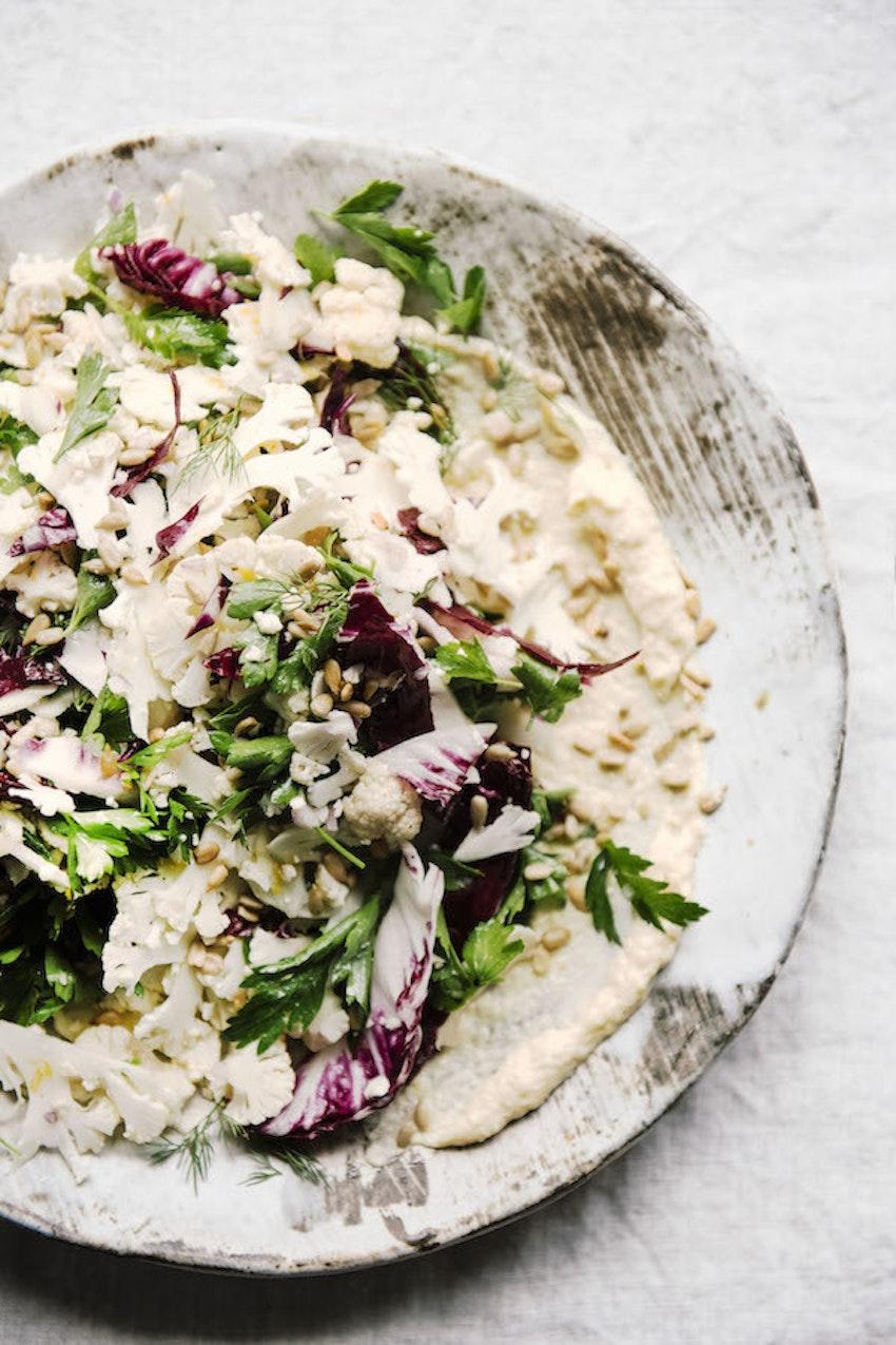 Shaved Cauliflower Salad with Smoked Whitefish, Mayo, Lemon, Radicchio & Herbs