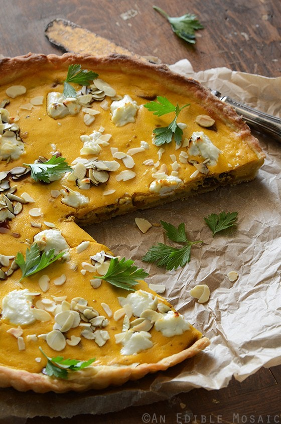 Savory Pumpkin Ricotta And Caramelized Onion Tart With Goat Cheese