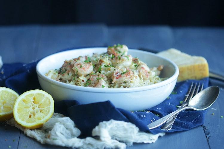 Shrimp Scampi in Homemade Linguine Pasta