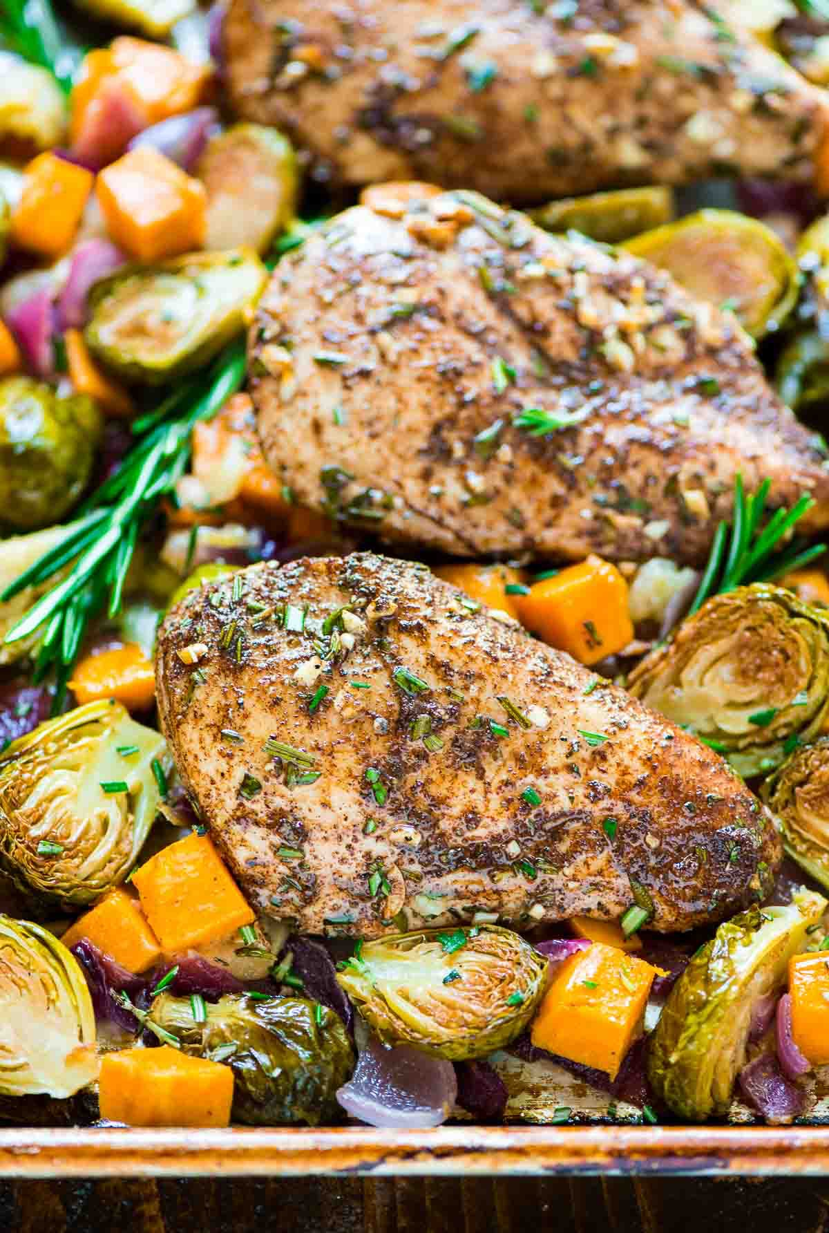 Sheet Pan Chicken With Sweet Potatoes Apples Brussels Sprouts Bacon