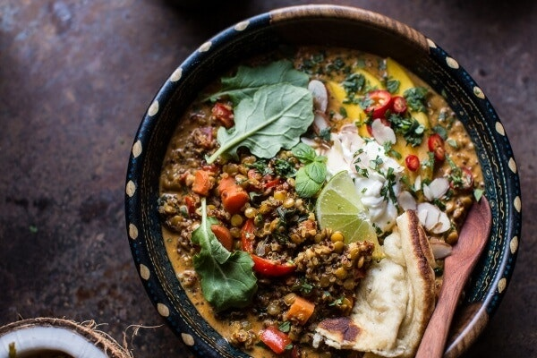Simple Coconut Quinoa And Lentil Curry With Lime Mango 10