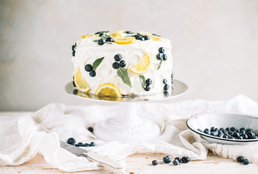A Stunning Spring Lemon Blueberry Cake