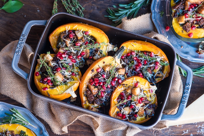 Maple Glazed Stuffed Acorn Squash