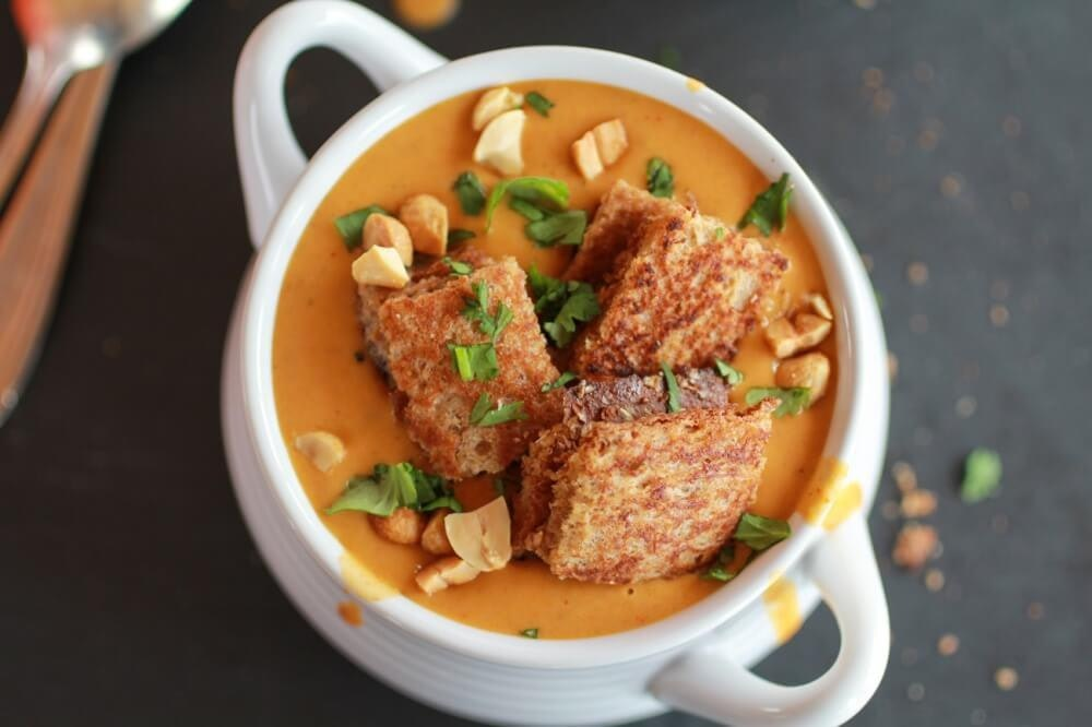 Sweet Potato Peanut Soup With Peanut Butter Croutons 6