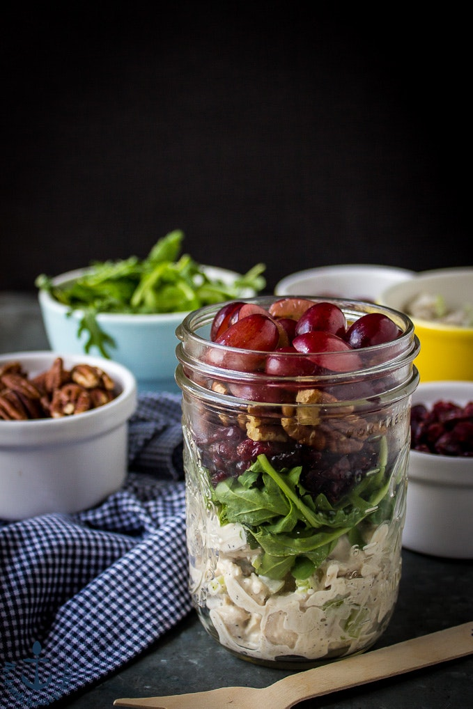 Turkey Salad With Grapes Pecans And Cranberries In A Jar 2 1 Of 1